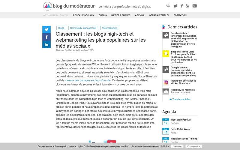 Blog du Modérateur : Classement des blogs high-tech et webmarketing les plus populaires sur les médias sociaux