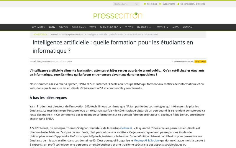 Intelligence artificielle : quelle formation pour les étudiants en informatique ? Presse Citron